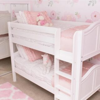 """When our grandparents used to say someone was """" in the pink"""" they meant happy and healthy. That feeling is expressed here in a two-bed Matrix creation.    #RoomsToGrow #Lifestyle #Instagood #Children #ParentingLife #Kids #YouthFurniture #ShopRhodeIsland  #Family #LetThemBeLittle #Parenthood #ModernKidsRoom #ClassicNursery #KidsRoomInspiration  #KidsRoom #SimpleKidsRoom #KidsRoomInspo"""