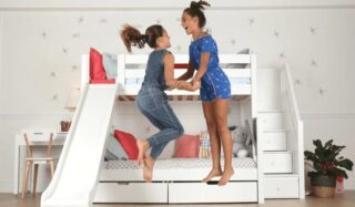Whee! Growing kids can adapt and have fun with friends and siblings in a well-designed room.   #RoomsToGrow #Lifestyle #ParentingLife #Kids #YouthFurniture #ShopRhodeIsland  #Parenthood  