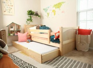 The youngster who likes to have a sleepover guest once in a while may like this arrangement. A bunk-style bed with a trundle pull-out bed below provides an extra sleeping room where ceilings are not high and space is limited.         #RoomsToGrow #Lifestyle #Instagood #Children #ParentingLife #Kids #YouthFurniture #ShopRhodeIsland  #Family #LetThemBeLittle #Parenthood #ModernKidsRoom #ClassicNursery #KidsRoomInspiration  #KidsRoom #SimpleKidsRoom #KidsRoomInspo #ShopRoomsToGrow