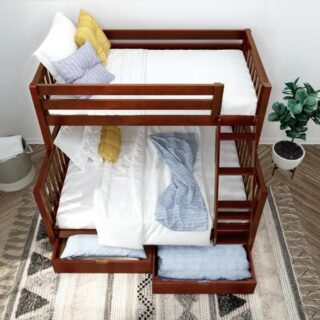 It is possible to do a lot with a small space. This bunk bed with a twin upper and full size lower bed enables two people of different sizes and ages to occupy the same floor space at night. This is handsome as well as practical.         #RoomsToGrow #Lifestyle #Instagood #Children #ParentingLife #Kids #YouthFurniture #ShopRhodeIsland  #Family #LetThemBeLittle #Parenthood #ModernKidsRoom #ClassicNursery #KidsRoomInspiration  #KidsRoom #SimpleKidsRoom #KidsRoomInspo #ShopRoomsToGrow