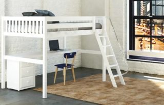 Imagination runs free when a child mounts the elevated loft bed atop a private study area in this setting. Good design and clever use of space provide a child- friendly room in this home.       #RoomsToGrow #Lifestyle #Instagood #Children #ParentingLife #Kids #YouthFurniture #ShopRhodeIsland  #Family #LetThemBeLittle #Parenthood #ModernKidsRoom #ClassicNursery #KidsRoomInspiration  #KidsRoom #SimpleKidsRoom #KidsRoomInspo