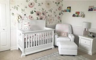 A cozy crib for the baby and a comfortable chair with a footrest for Mommy or Daddy. This is a place for peaceful bedtime stories and a good night's sleep.