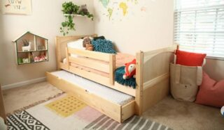 Our Maxtrix Bunk Beds not only conserve space but are also versatile. The pull-out is great for whether your child wants a random change in sleep location or a sleepover.