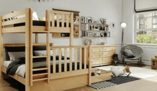 Looking for a room for a can-do youngster? Look at this climbable bunk bed with a pull-out drawer for toys and treasures.