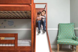 What child wouldn't like a bunk bed with a slide? Our bunk beds can come with ladders or slides, and different size beds if you prefer.    #RoomsToGrow #Lifestyle #Instagood #Children #ParentingLife #Kids #YouthFurniture #ShopRhodeIsland #BabysRoom #Family #LetThemBeLittle #Parenthood