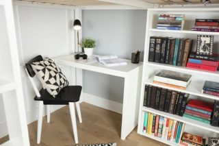 A safe, quiet corner with a desk can be a wonderful place. A loft bed can provide a private study as well a a good night's sleep.
