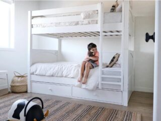 Bunk beds are great for saving space. Keep the room tidy with under-bed storage drawers. We mean it's either that or dust bunnies under your bed. We love how this classic look will stand the test of time.