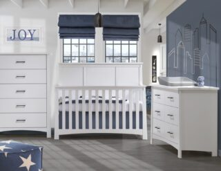 """Have you seen the Bruges """"5-in-1"""" Convertible Crib? It is modern and simple. A dream nursery come true!☁️💙"""